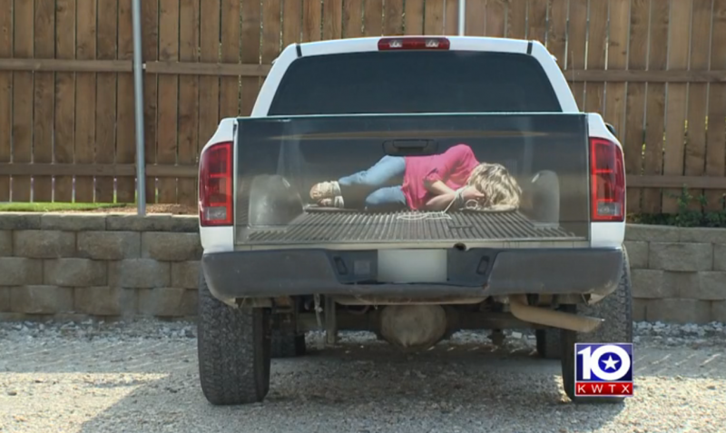 Woman tied up in pickup screen shot